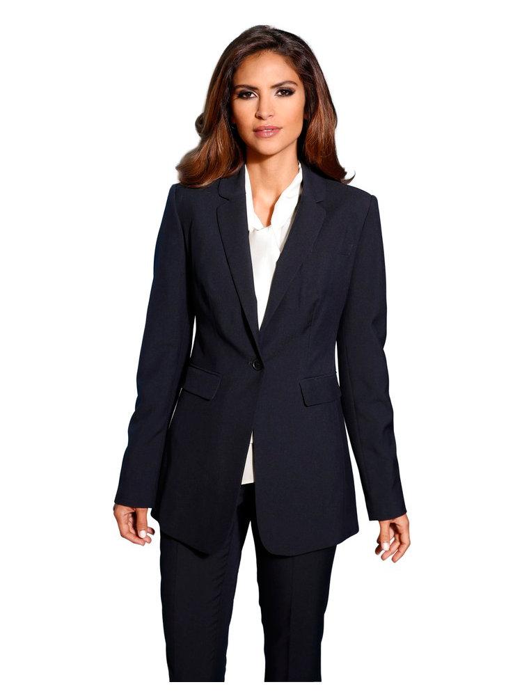 tailleur pantalon femme uni type smocking blazer long helline. Black Bedroom Furniture Sets. Home Design Ideas
