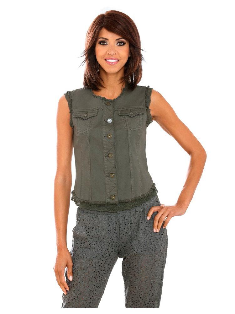 veste courte sans manches style treilli militaire femme helline. Black Bedroom Furniture Sets. Home Design Ideas