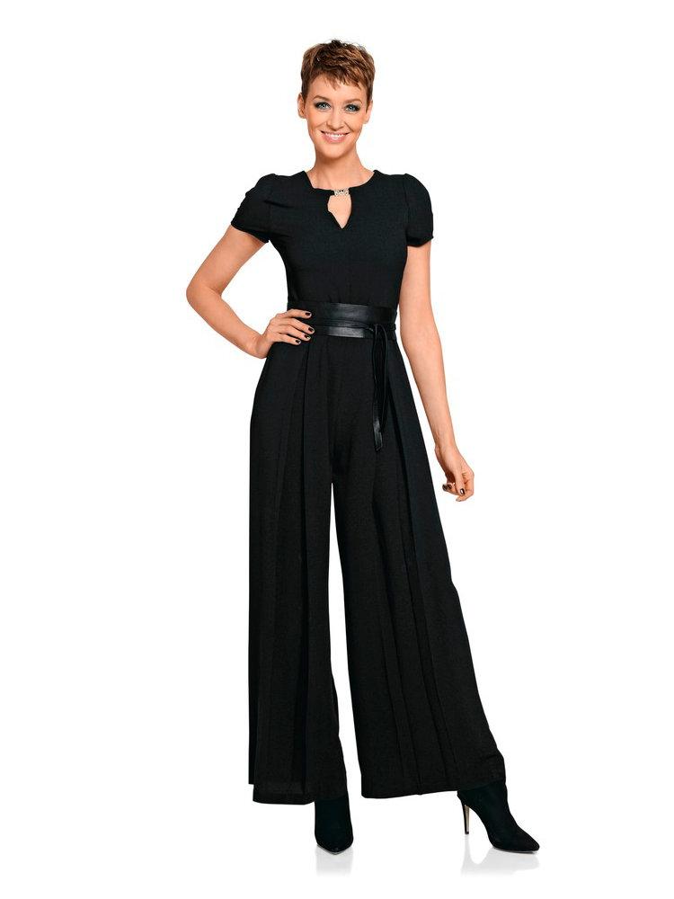 Combinaison pantalon noire fluide forme ample femme helline - Pantalon ample femme ...