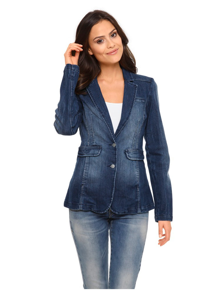 veste blazer en jean femme ajust fermeture 2 boutons helline. Black Bedroom Furniture Sets. Home Design Ideas