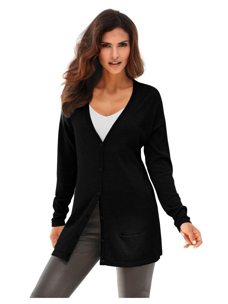 cardigan long femme style ample boutonn sur l 39 avant helline. Black Bedroom Furniture Sets. Home Design Ideas