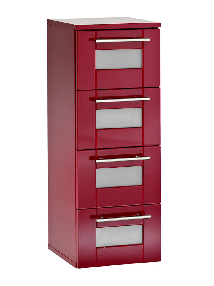 Colonne salle de bain couleur unie 4 tiroirs helline for Colonne de salle de bain rouge
