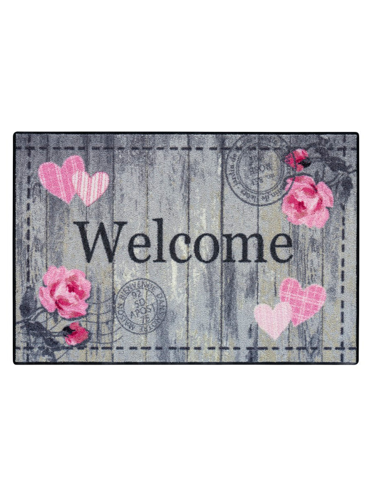 Tapis D 39 Entr E Welcome En Nylon Imprim Romantique
