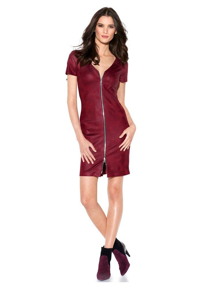 robe droite couleur rouge bordeaux glissi re double helline. Black Bedroom Furniture Sets. Home Design Ideas
