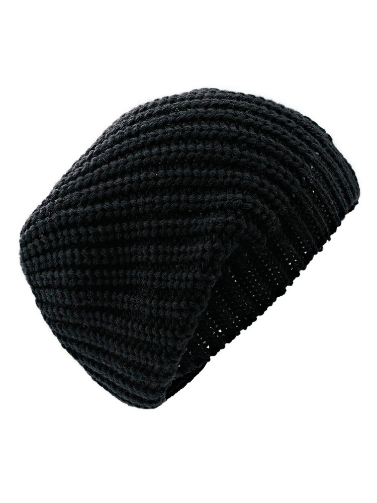 bonnet noir long pour femme en grosse maille helline. Black Bedroom Furniture Sets. Home Design Ideas