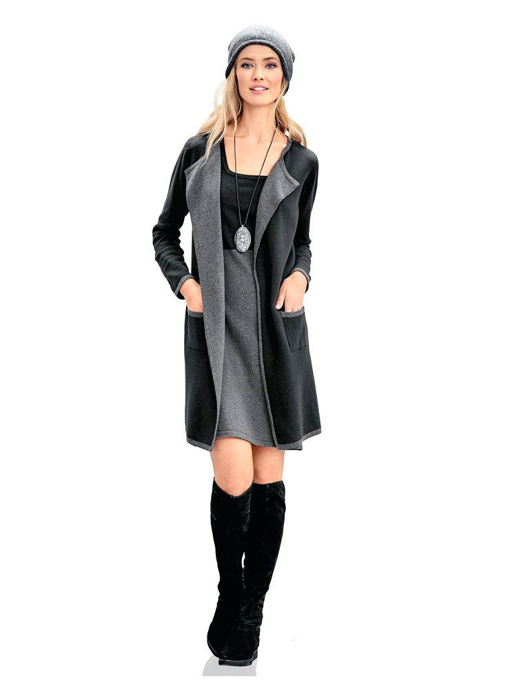 veste longue femme en tricot fin poches helline. Black Bedroom Furniture Sets. Home Design Ideas