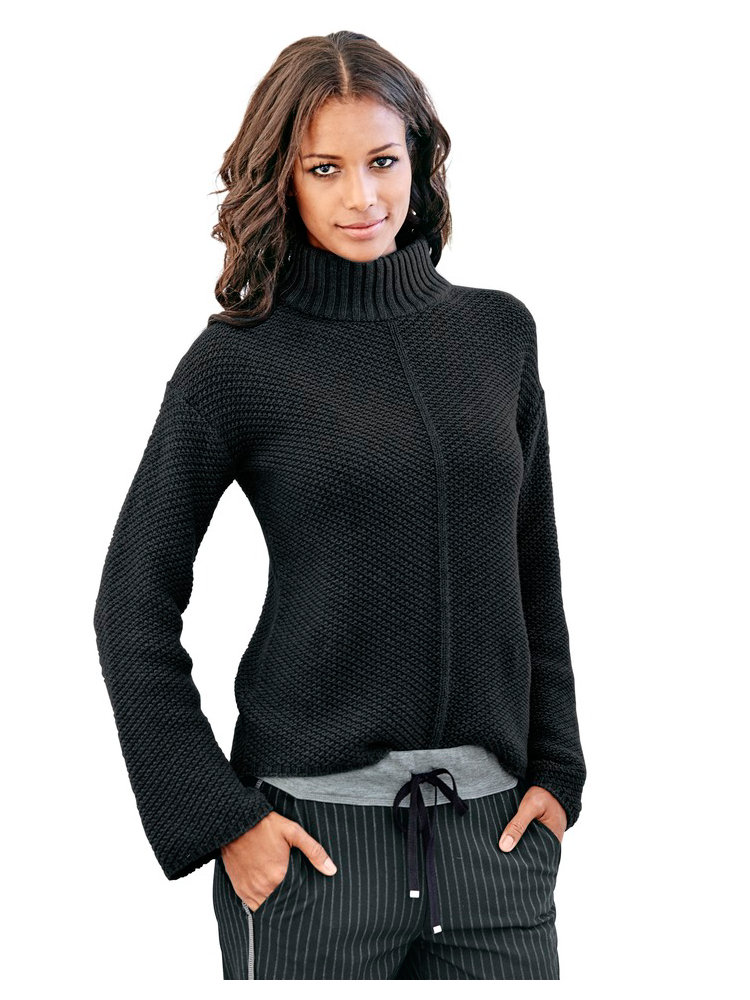 pull over femme en tricot crochet manches amples helline. Black Bedroom Furniture Sets. Home Design Ideas
