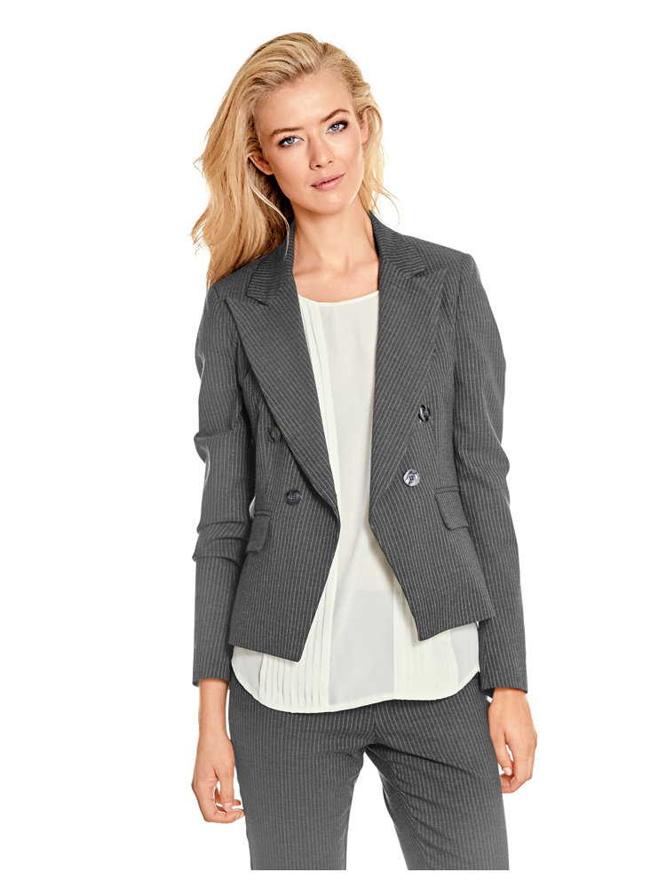 blazer court gris rayures pour femme forme stretch helline. Black Bedroom Furniture Sets. Home Design Ideas