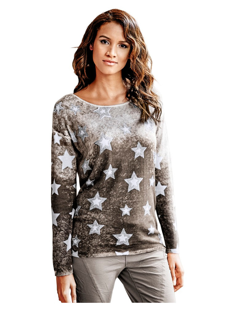 pull over femme en tricot fin motif toiles col rond. Black Bedroom Furniture Sets. Home Design Ideas
