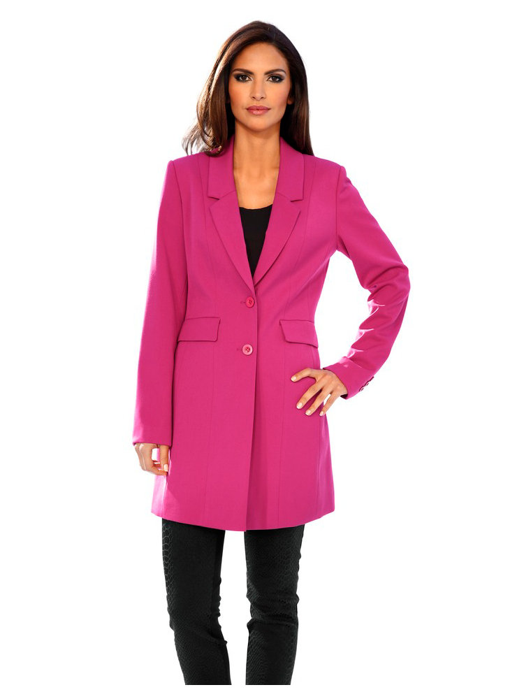 blazer long femme col revers couleur fuschia helline. Black Bedroom Furniture Sets. Home Design Ideas
