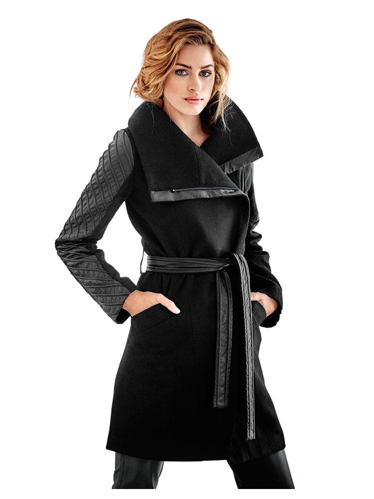 manteau noir ceintur pour femme empi cements simili. Black Bedroom Furniture Sets. Home Design Ideas