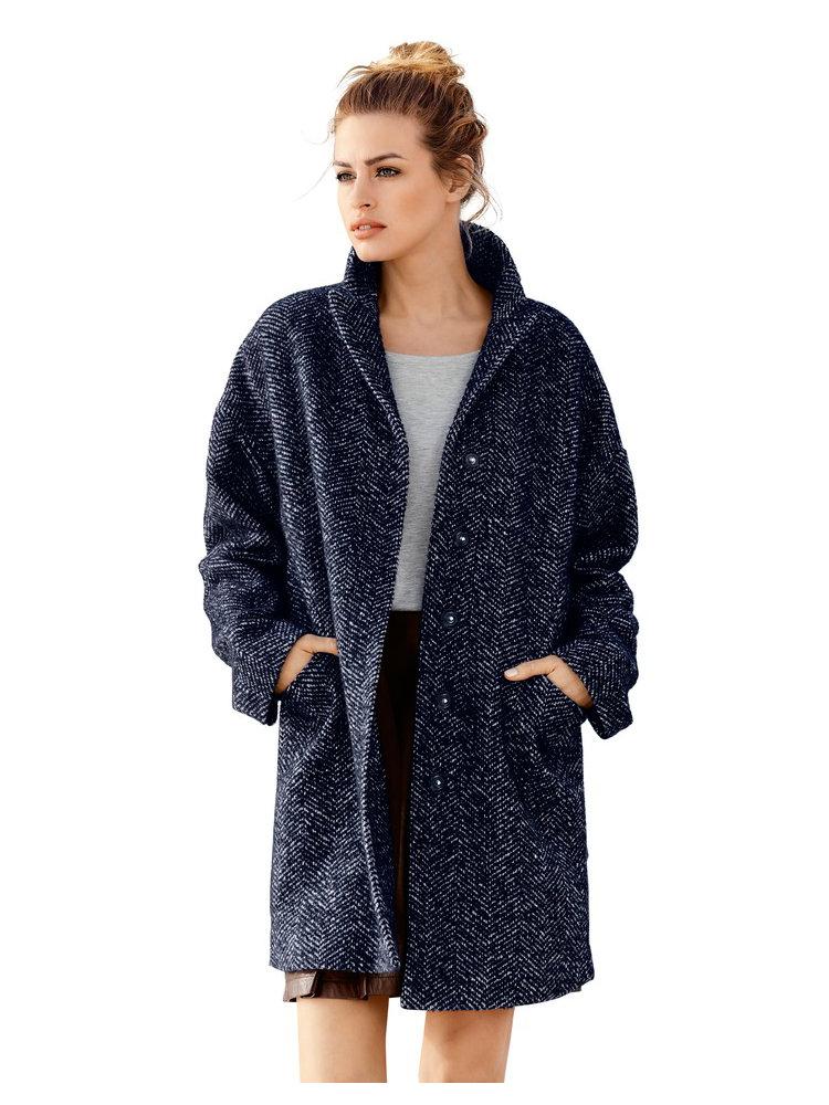 manteau oversize bleu marine en laine m lang e helline. Black Bedroom Furniture Sets. Home Design Ideas