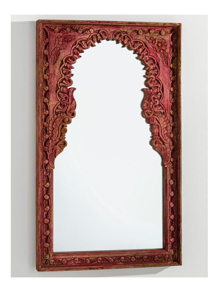 Miroir mural avec cadre sculpt en bois patin helline for Recherche miroir mural