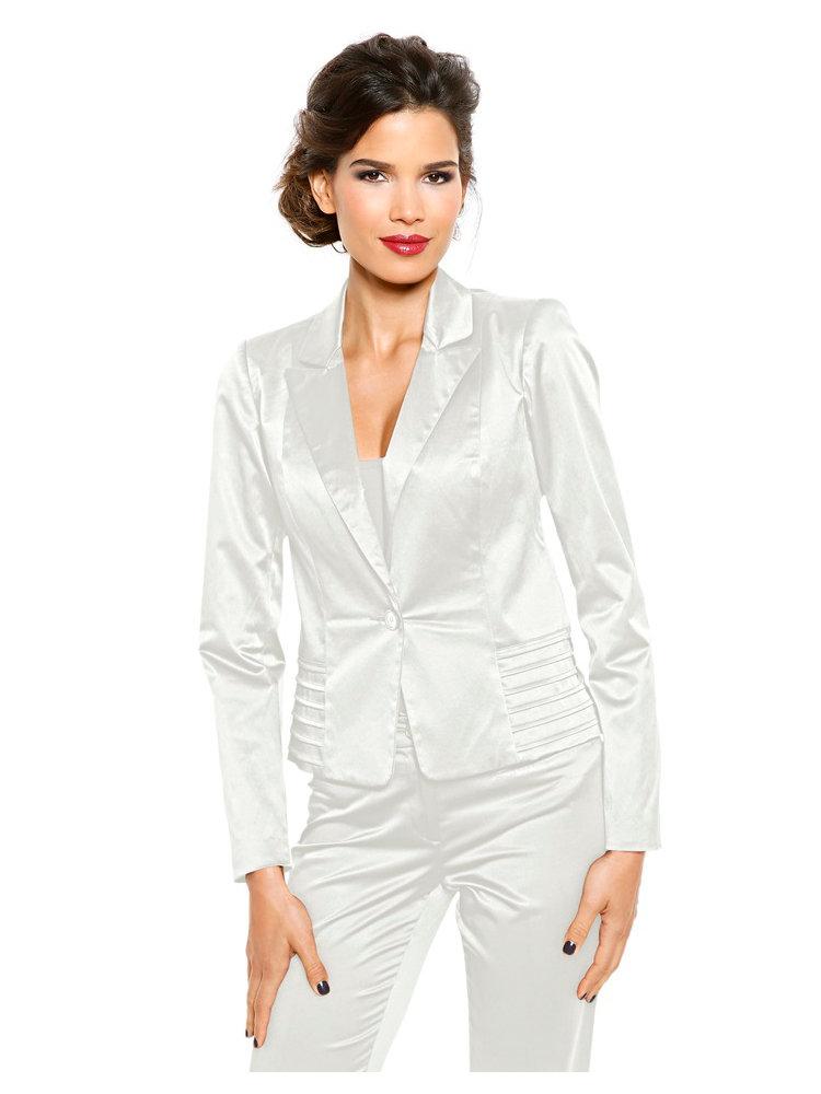 blazer femme blanc en satin coupe courte helline. Black Bedroom Furniture Sets. Home Design Ideas