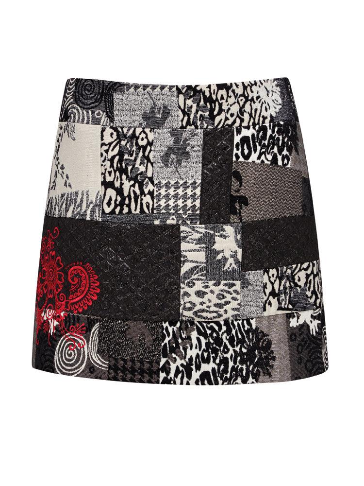 jupe courte originale coupe droite motif patchwork helline. Black Bedroom Furniture Sets. Home Design Ideas