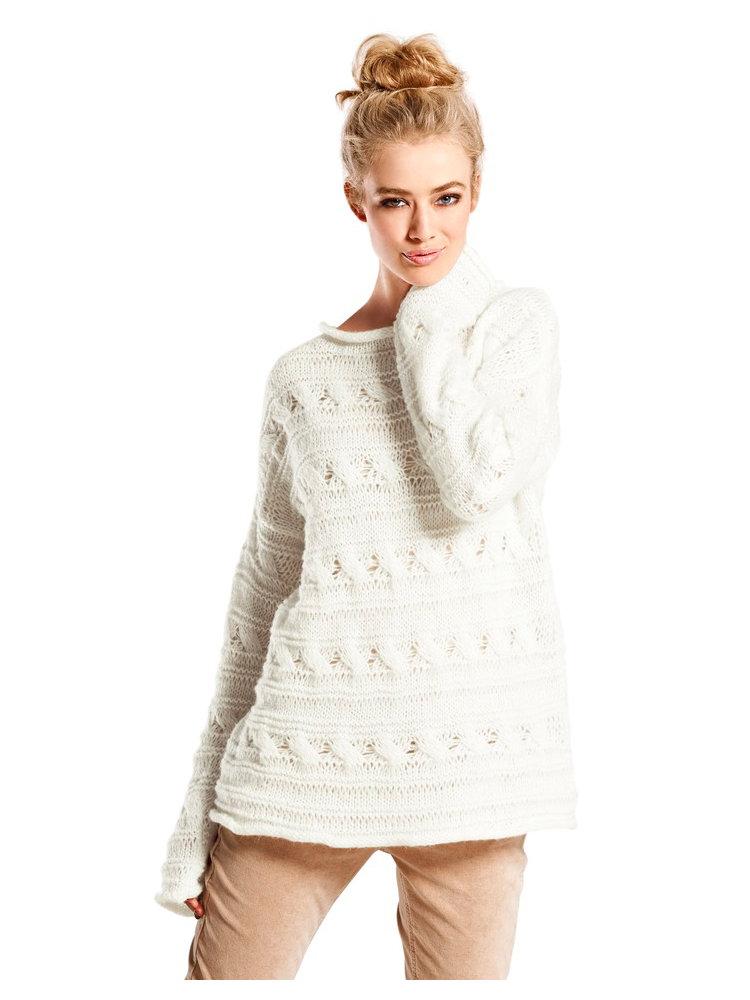 pull over femme en tricot grosses mailles ajour es helline. Black Bedroom Furniture Sets. Home Design Ideas