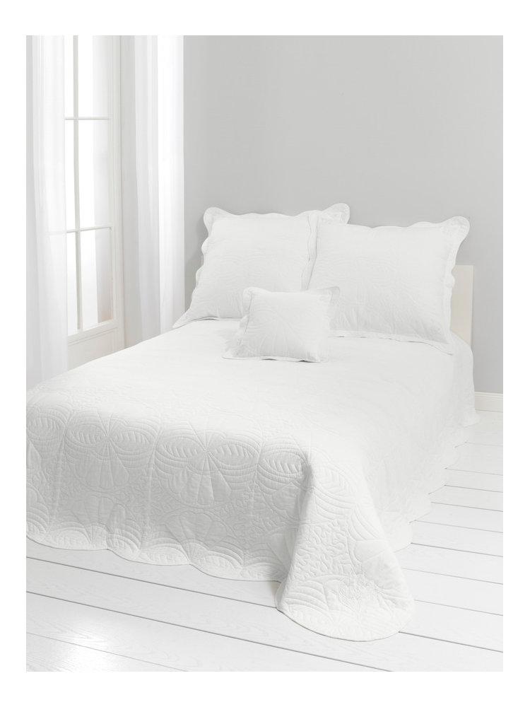couvre lit blanc motifs matelass s helline. Black Bedroom Furniture Sets. Home Design Ideas