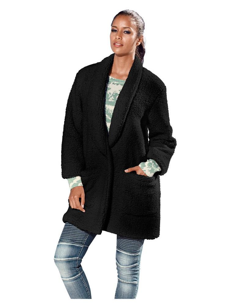 manteau oversize femme en laine boucl e col revers helline. Black Bedroom Furniture Sets. Home Design Ideas