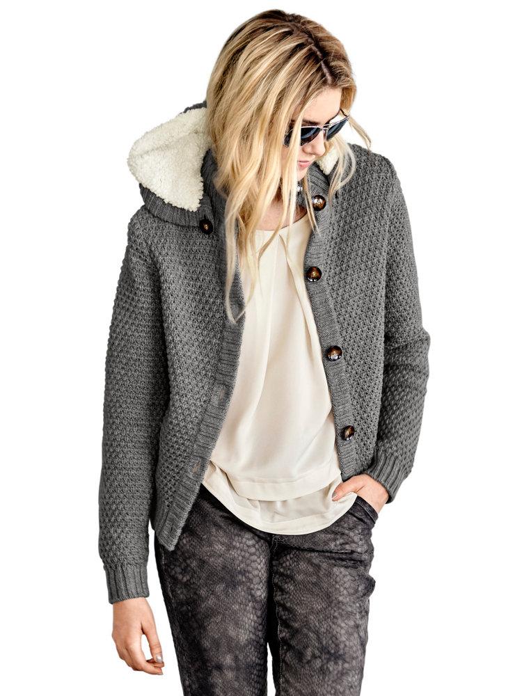 gilet femme en tricot chaud capuche douce amovible helline. Black Bedroom Furniture Sets. Home Design Ideas
