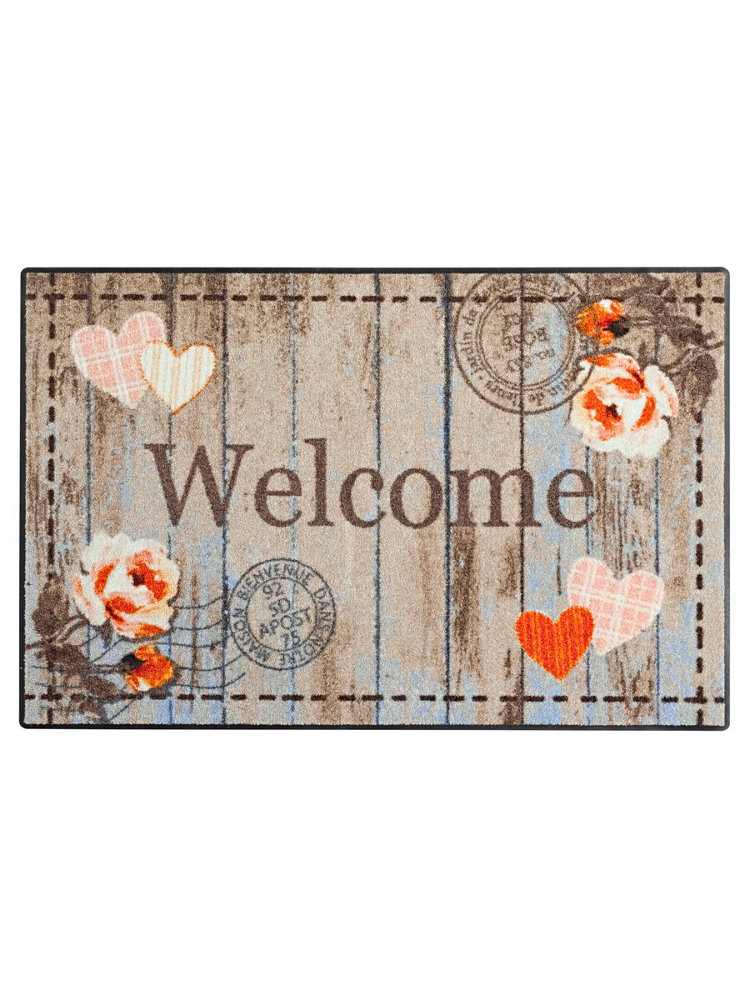 Tapis D 39 Entr E Welcome En Nylon Imprim Romantique Helline