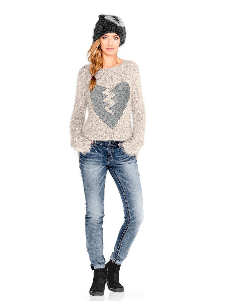 pull over femme en tricot moelleux col rond helline. Black Bedroom Furniture Sets. Home Design Ideas