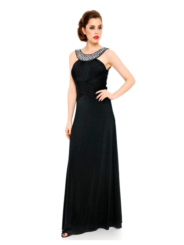 robe de soir e longue ajust e encolure bijoux chic helline. Black Bedroom Furniture Sets. Home Design Ideas