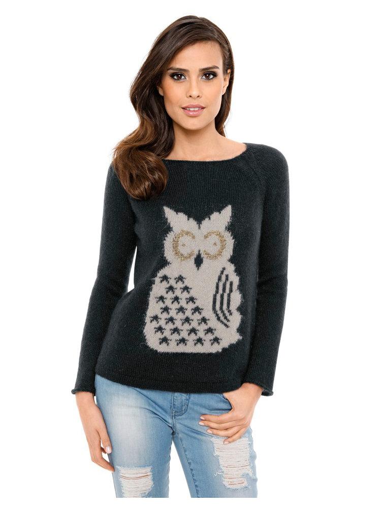 pull over femme en tricot motif chouette col rond helline. Black Bedroom Furniture Sets. Home Design Ideas