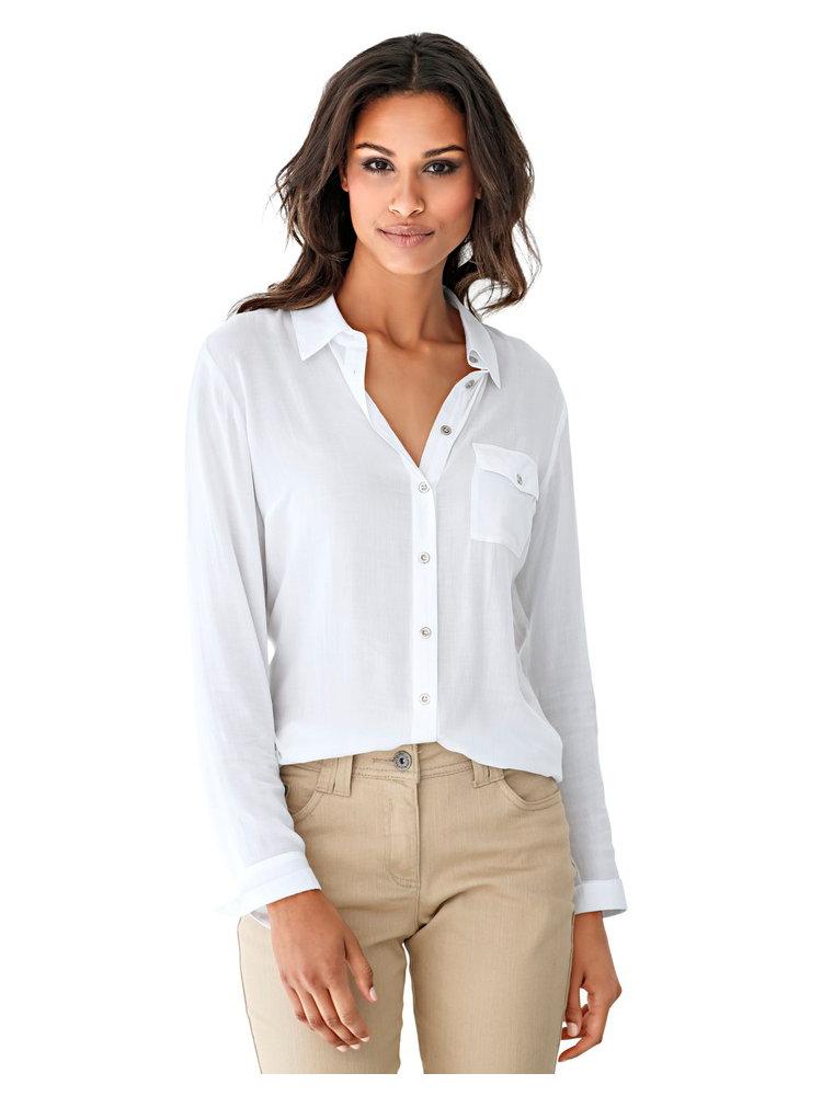 chemise blanche longue pour femme poche poitrine helline. Black Bedroom Furniture Sets. Home Design Ideas
