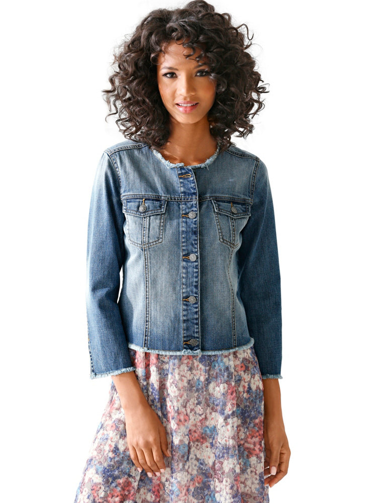 veste en jean denim femme effet us tr s tendance helline. Black Bedroom Furniture Sets. Home Design Ideas