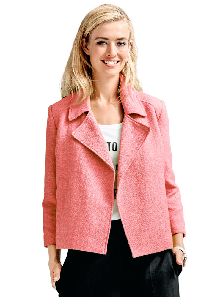 blazer court ajour femme coupe ample jaune ou corail helline. Black Bedroom Furniture Sets. Home Design Ideas