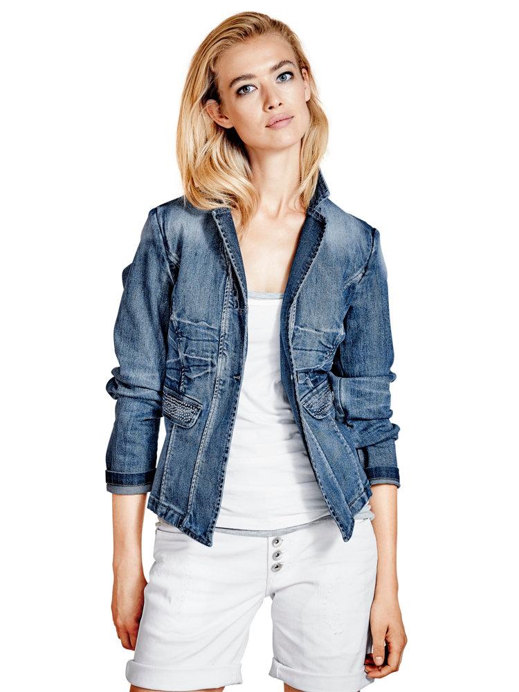 veste en jean effet us femme coupe courte avec strass. Black Bedroom Furniture Sets. Home Design Ideas