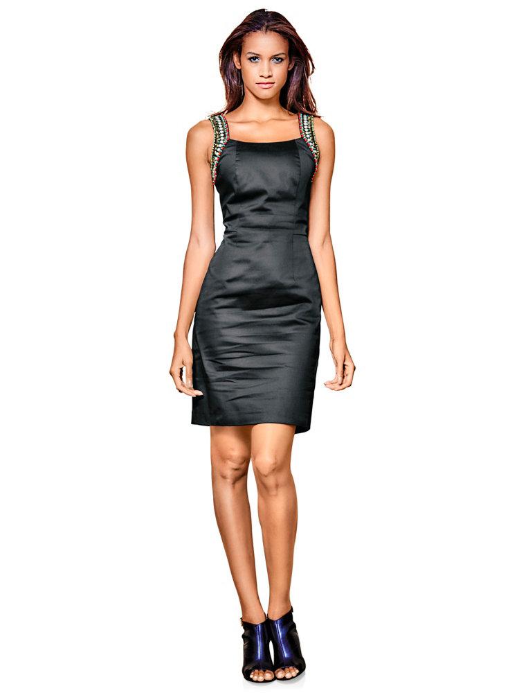 robe de soir e courte noire bretelles en perles helline. Black Bedroom Furniture Sets. Home Design Ideas