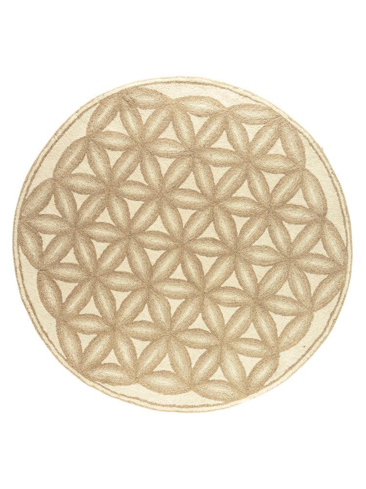 tapis rond beige en laine vierge et motifs en relief helline. Black Bedroom Furniture Sets. Home Design Ideas