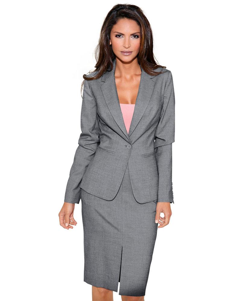 veste de tailleur classique femme gris chin helline. Black Bedroom Furniture Sets. Home Design Ideas