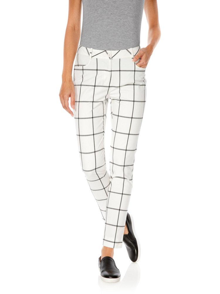 Pantalon amincissant pour femme imprim carreaux helline for Pantalon a carreaux