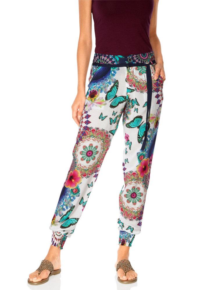 pantalon ample desigual femme imprim fleuri color helline. Black Bedroom Furniture Sets. Home Design Ideas