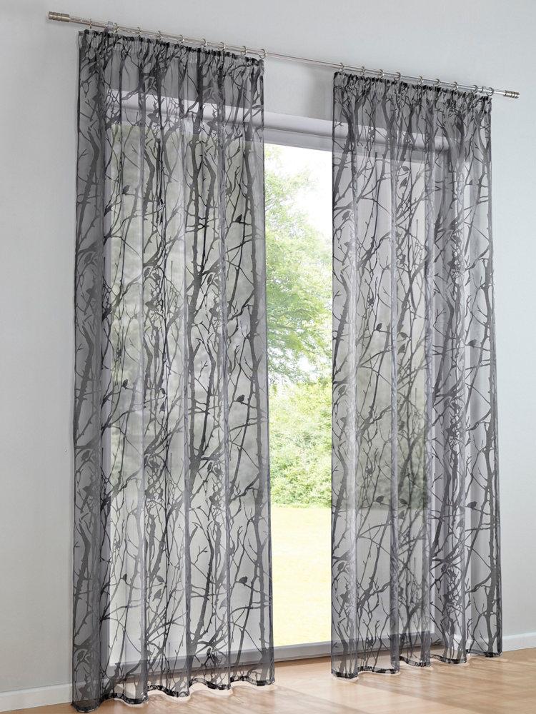 rideaux transparents avec motif de branchages moderne helline. Black Bedroom Furniture Sets. Home Design Ideas