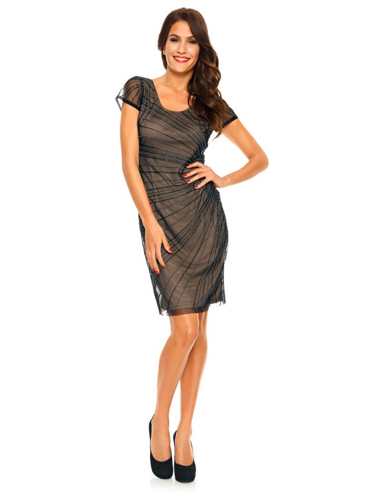 robe courte chic et festive avec strass coupe fourreau helline. Black Bedroom Furniture Sets. Home Design Ideas
