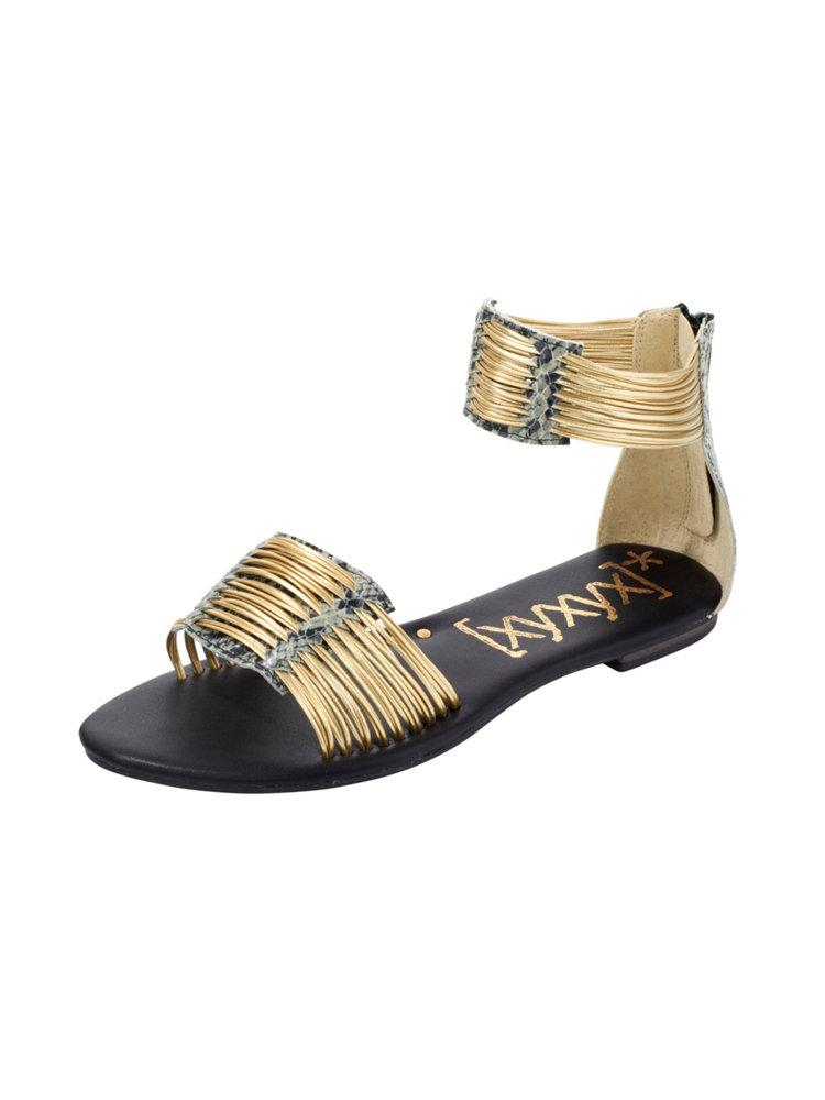 sandales plates ouvertes brides dor es en cuir helline. Black Bedroom Furniture Sets. Home Design Ideas