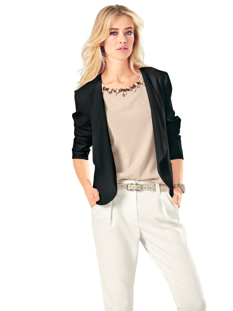 veste blazer courte l gante femme col cascade helline. Black Bedroom Furniture Sets. Home Design Ideas