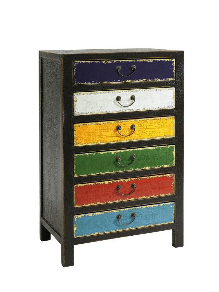 commode tiroirs color s en bois massif et poign es en cuir helline. Black Bedroom Furniture Sets. Home Design Ideas