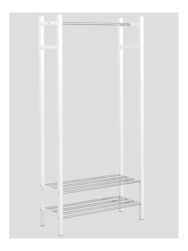 Vestiaire dentrée en métal blanc, tringle et étagères  helline -> Vestiaire Entree Metal