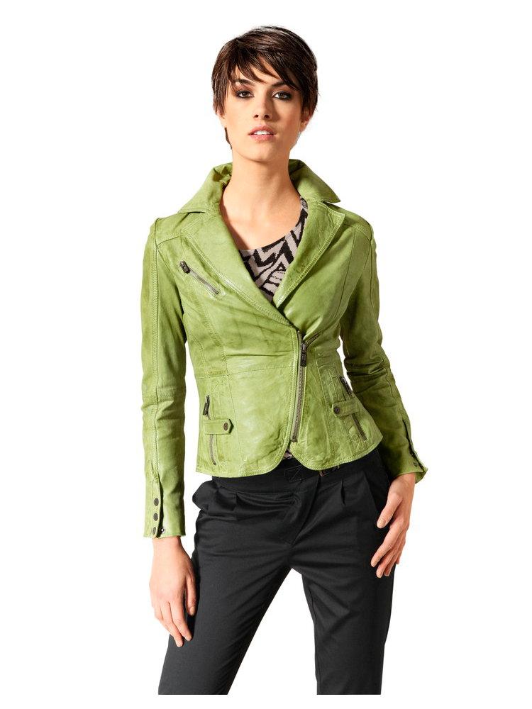 veste en cuir femme style motard col tailleur l gant. Black Bedroom Furniture Sets. Home Design Ideas