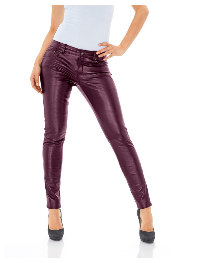 pantalon en cuir uni femme coupe slim et taille basse helline. Black Bedroom Furniture Sets. Home Design Ideas