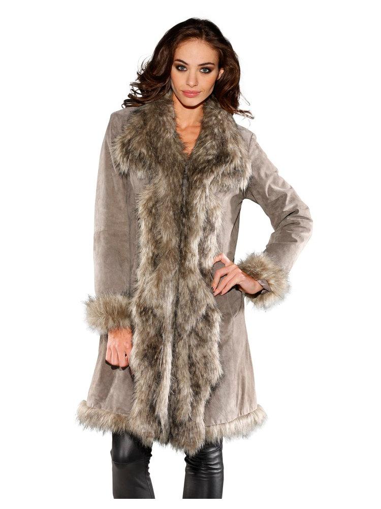 manteau femme en cuir col tailleur en fausse fourrure helline. Black Bedroom Furniture Sets. Home Design Ideas