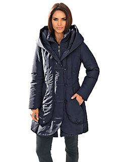 Manteau long matelassé femme à col large et boutons