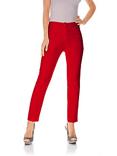 Pantalon droit en tissu stretch, poches latérales