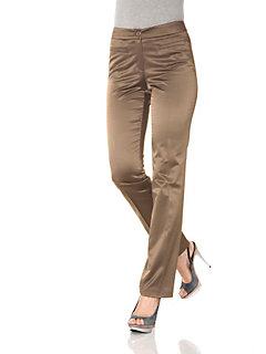Pantalon uni satiné femme, coupe droite classique