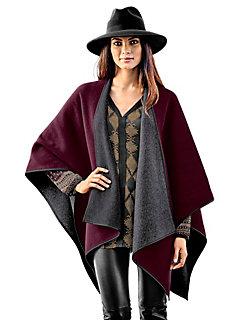 Poncho en laine réversible tendance pour femme