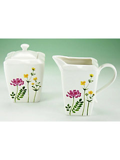 Crémier et sucrier en porcelaine, »Eva fleurs des champs«